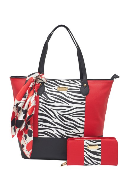 Buy Esbeda Red Zebra Printed Tote Bag With Wallet Scarf For Women