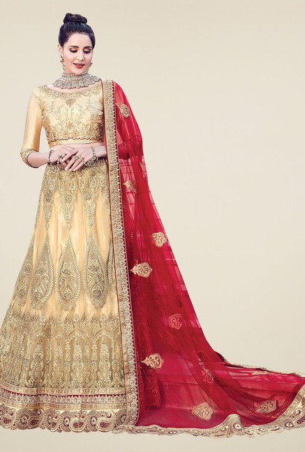 Aasvaa Beige 3/4th Sleeves Semi-Stiched Suit Set