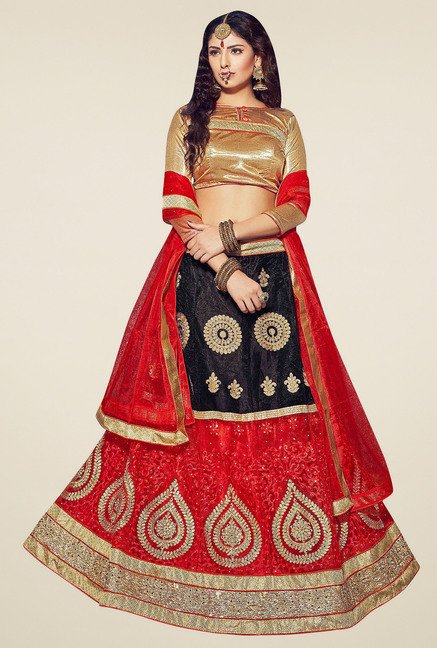 Aasvaa Red & Black Embroidered Semi-Stiched Suit Set