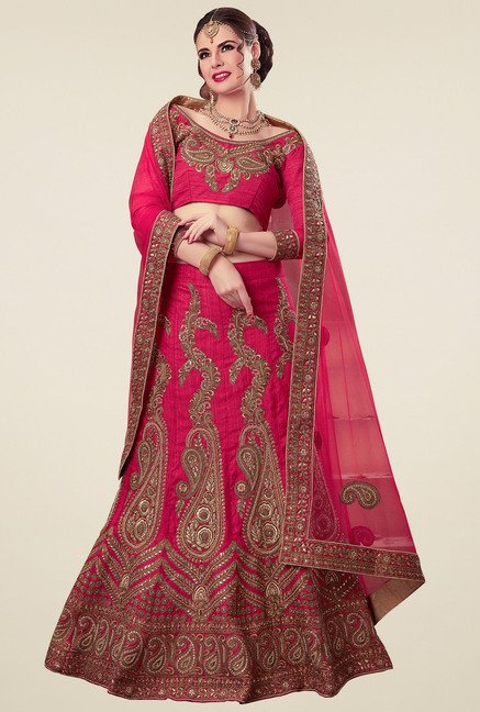 Aasvaa Dark Pink Regular Fit Semi-Stiched Suit Set