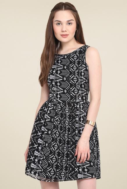 Mocking Bird Black & White Printed Midi Dress