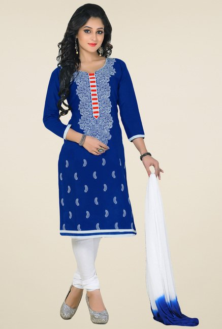 Salwar Studio Blue & White Cotton Embroidered Dress Material