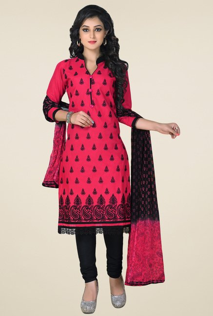 Salwar Studio Pink & Black Cotton Embroidered Dress Material