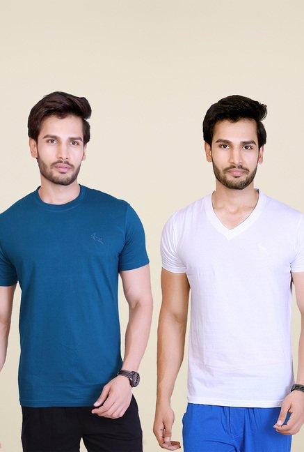 Lucfashion Dark Blue & White Cotton T-Shirts (Pack of 2)