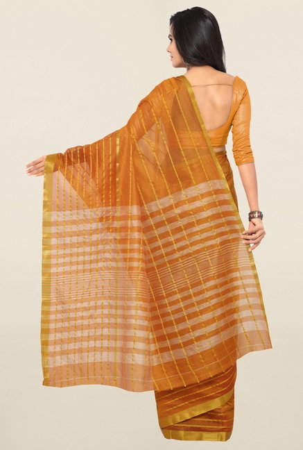 Triveni Yellow Striped Art Silk Saree