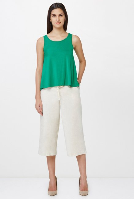 AND Off White Solid Culottes