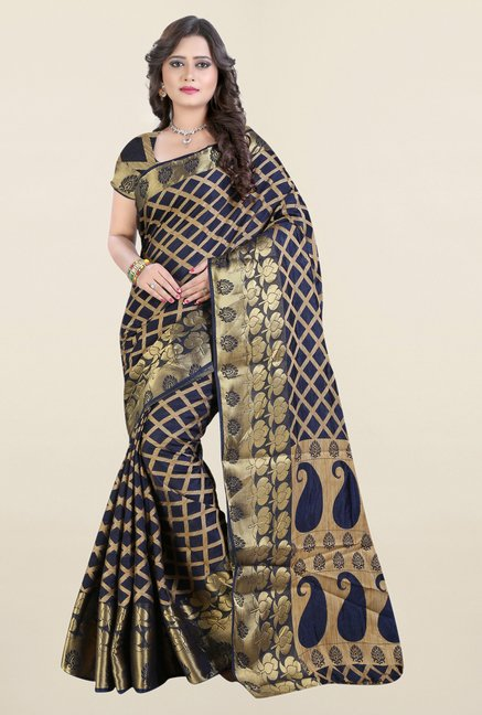 Triveni Navy Checks Jacquard Saree