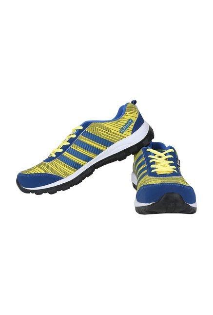 56394bb68605 Buy Spiky Royal Blue   Lemon Yellow Running Shoes for Men at Best ...