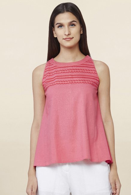 AND Pink Embroidered Swing Top