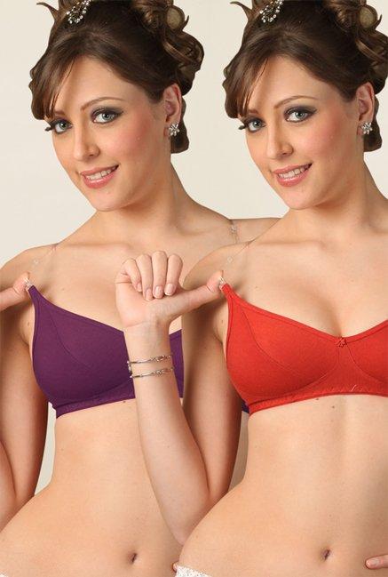 d4096bbb5861 Buy Floret Red & Wine Non Padded Bra (Pack Of 2) for Women Online @ Tata  CLiQ
