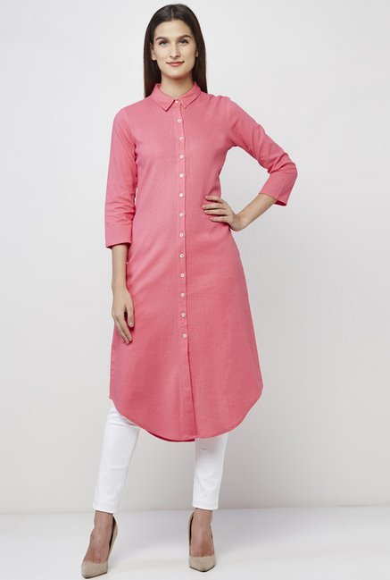 AND Pink Solid Shirt Tunic