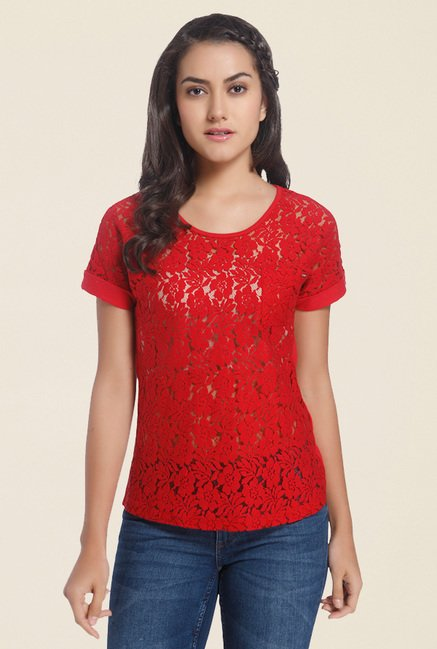 d22d1d38a27 Buy Only Red Lace Top for Women Online   Tata CLiQ
