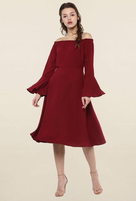 Femella Maroon Off Shoulder Dress