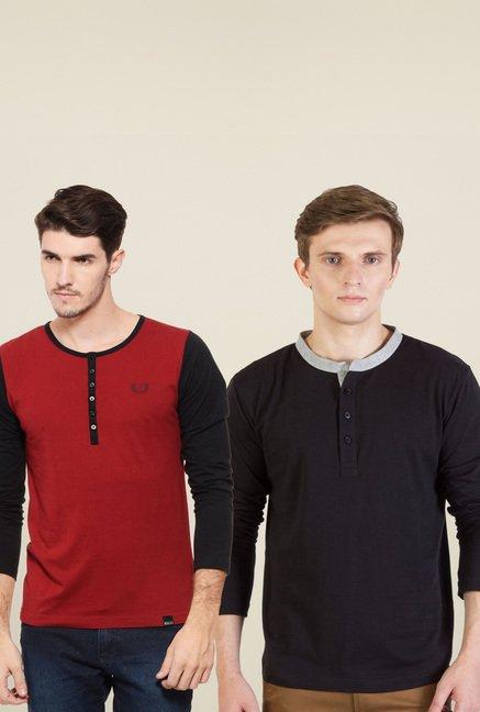 ffacd6afd58 Buy Rigo Black   Red Henley T-Shirt (Pack Of 2) for Men Online ...