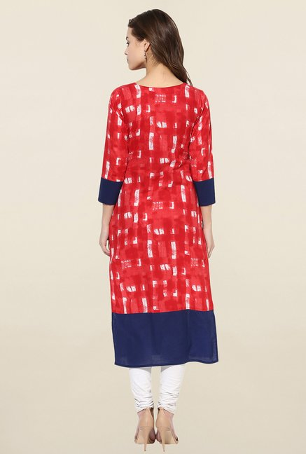 Ahalyaa Red Printed Straight Kurta