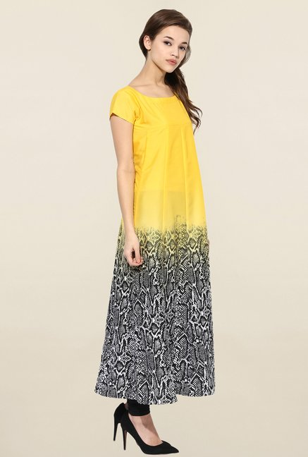 Ahalyaa Yellow & Black Printed Anarkali Kurta