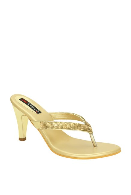 c67191fbaefe7e Buy Get Glamr Ygritte Golden Stiletto Heeled Thong Sandals for Women at  Best Price   Tata CLiQ