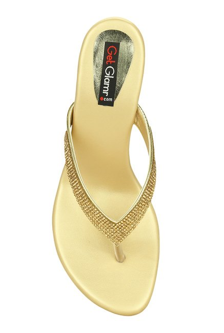 03dd35cf0efea5 Buy Get Glamr Ygritte Golden Stiletto Heeled Thong Sandals for Women ...