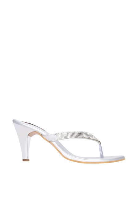 eeaf45c612946f Buy Get Glamr Ygritte Silver Stiletto Heeled Thong Sandals for Women ...