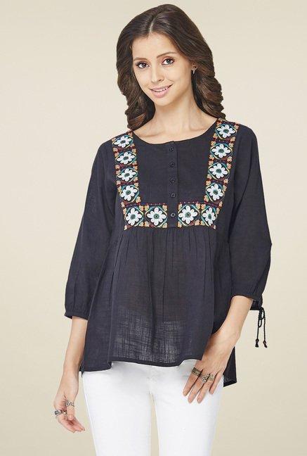 c7b36f5740f60 Buy Global Desi Black Embroidered Top for Women Online   Tata CLiQ