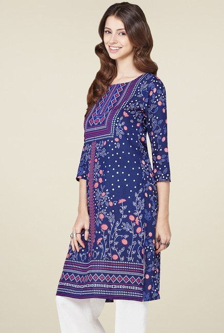 Global Desi Indigo Printed Round Neck Kurta