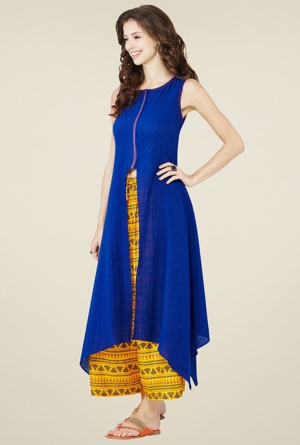 Global Desi Royal Blue Sleeveless Kurta