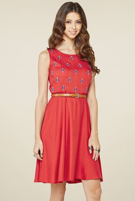 Global Desi Red Regular Fit Dress