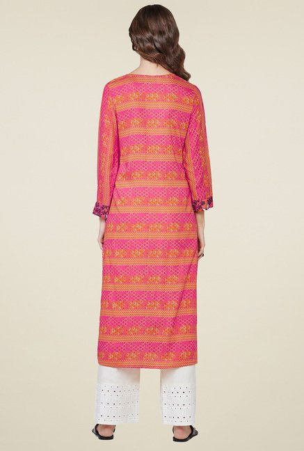 Global Desi Coral Printed Regular Fit Kurta