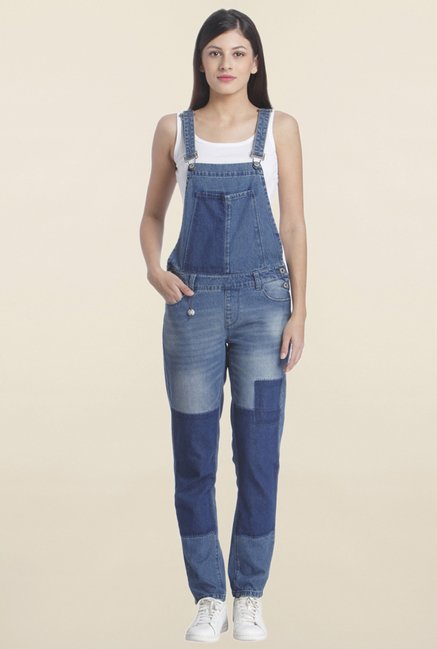 Only Blue Patchwork Dungaree