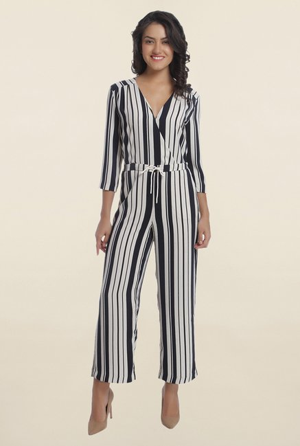693752f523f Buy Only Black and White Striped Crossover Front Jumpsuit for Women Online    Tata CLiQ