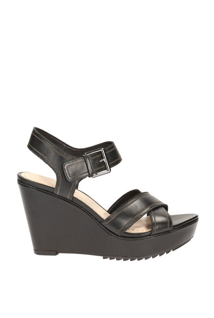 e131ee240312c Buy Clarks Scent Sky Black Ankle Strap Wedges for Women at Best ...