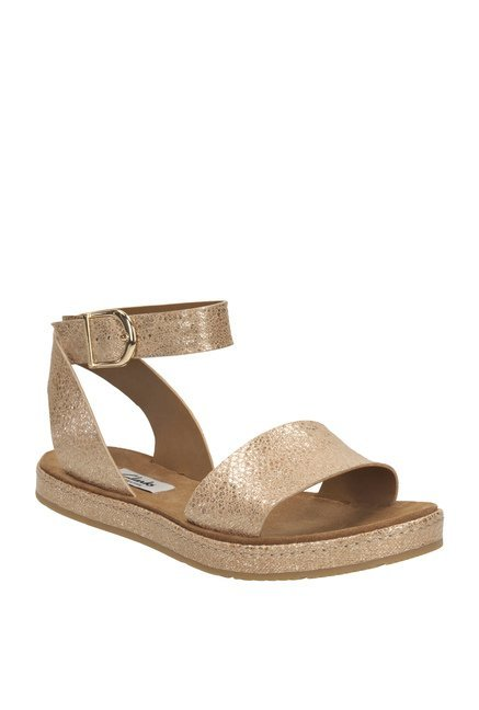 d00edc0a580 Buy Clarks Romantic Moon Champagne Gold Ankle Strap Sandals for Women at  Best Price   Tata CLiQ