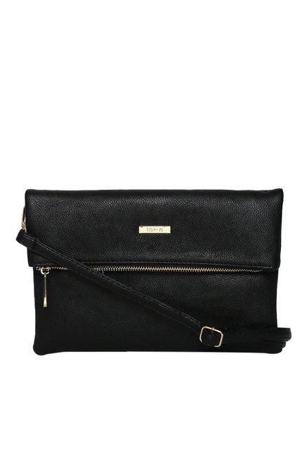 Toniq Black Fold Over Solid Sling Bag