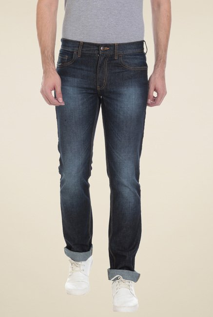 Vudu Dark Blue Mid Rise Cotton Jeans