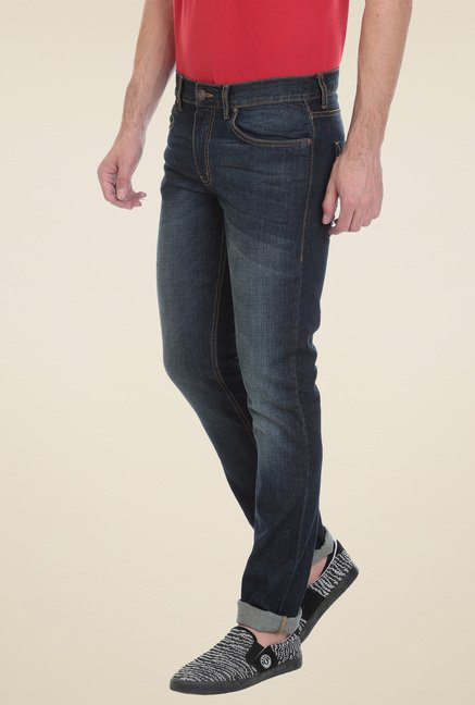 Vudu Dark Blue Slim Fit Cotton Jeans