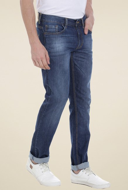 Vudu Blue Lightly Washed Cotton Jeans