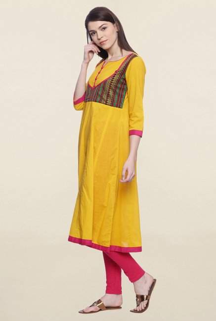 Mytri Yellow Embroidered Cotton Anarkali Kurta