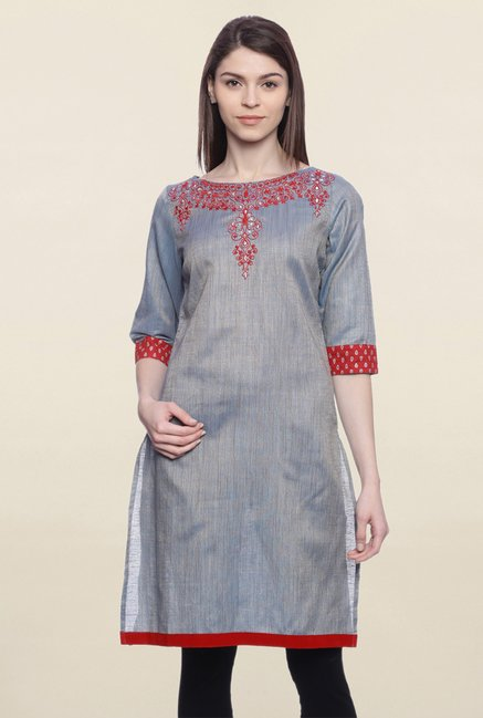 Mytri Grey Embroidered Cotton Kurti
