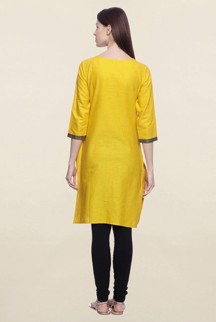 Mytri Yellow Embroidered Cotton Kurti