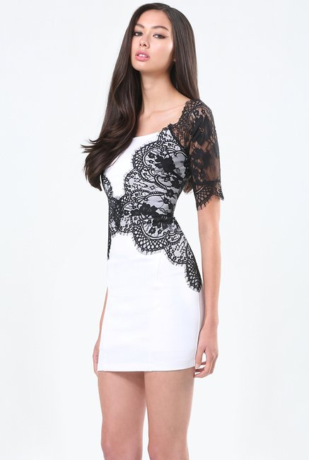 Bebe White Black Lace Dress