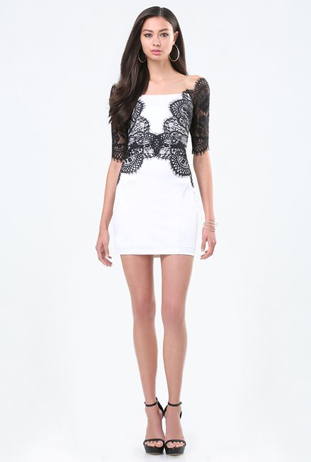 Buy Bebe White Black Lace Dress For Women Online Tata Cliq