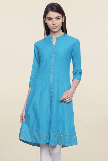 Mytri Blue Solid Other A Line Kurti