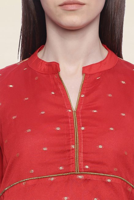 Mytri Red Embroidered Chanderi Kurti
