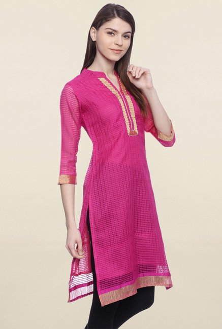 Mytri Pink Checks Chanderi Kurti