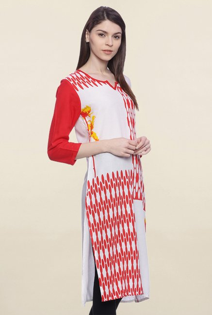 Mytri White & Red Printed Rayon Kurta