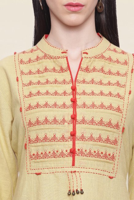 Mytri Beige Embroidered Cotton A Line Kurti