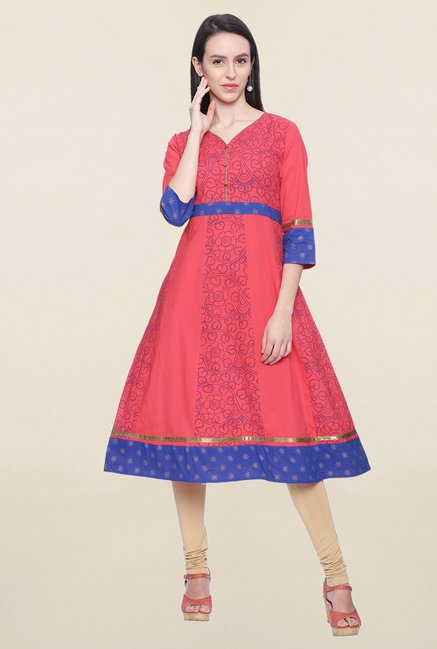 Mytri Coral Printed Cotton Anarkali Kurta