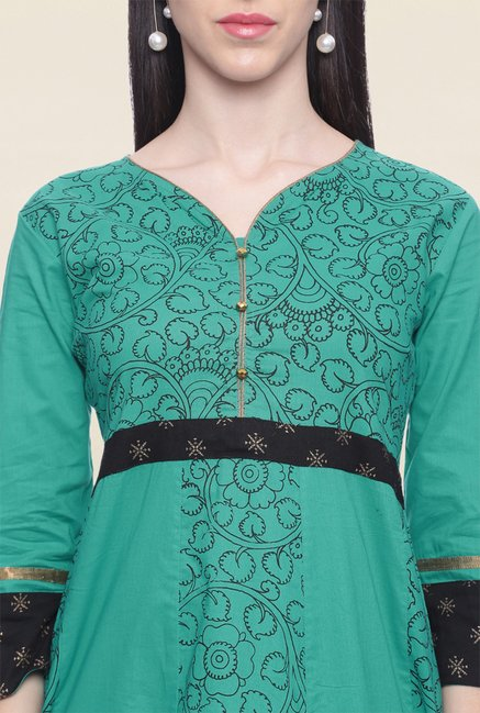 Mytri Teal Printed Cotton Anarkali Kurta