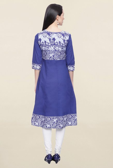 Mytri Blue Printed Cotton Anarkali Kurta