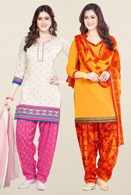 Salwar Studio Cream & Yellow Unstitched Patiala Suit